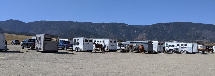 About 40 horse trailers were ready for the trail when we arrived.
